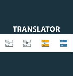 Translator icon set four simple symbols in vector