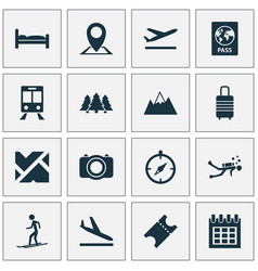 traveling icons set with calendar mountains bed vector image