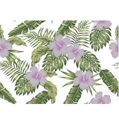 tropical leaves and hibiscus seamless white vector image
