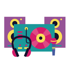 turntable vinyl record microphone headphones vector image