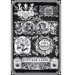 Vintage Hand Drawn Blackboard Banners and Labels vector image