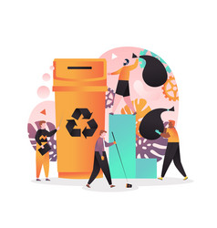 Waste sorting and recycling concept for web banner vector