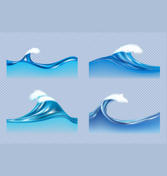 water waves realistic liquid splashes ocean or vector image
