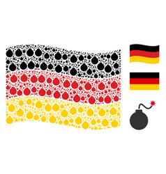 waving german flag pattern of bomb icons vector image