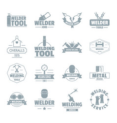 Welding logo icons set simple style vector