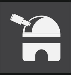 White icon on black background telescope station vector