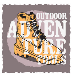 Winter male boots themed vintage influenced vector