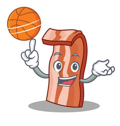 With basketball bacon character cartoon style vector