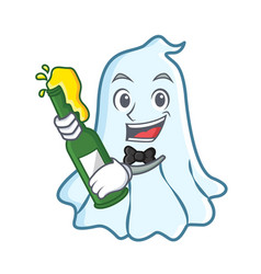 With beer cute ghost character cartoon vector
