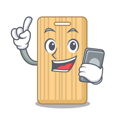 With phone wooden cutting board character cartoon vector