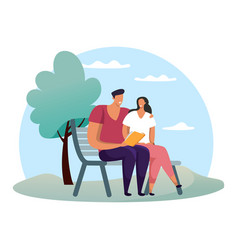 woman and man at park reading book or at date vector image