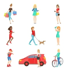 Women And Girls Different Lifestyle Activities vector