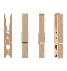 Wooden Clothespin Set vector image