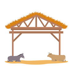 Wooden stable manger with ox and mule vector