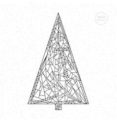 Xmas tree hand drawn abstract vector