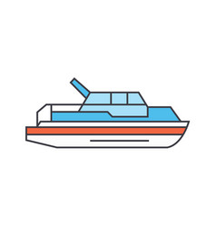 yacht line icon concept yacht flat sign vector image
