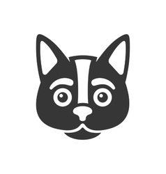 Black Cat Face Icon on White Background vector image vector image