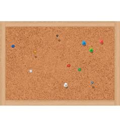 blank cork notice board with thumbtacks vector image vector image