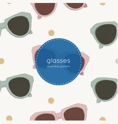 Cat eye retro glasses seamless pattern vector