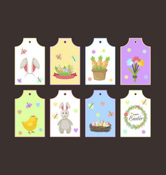 easter gift tags labels with cute cartoon vector image