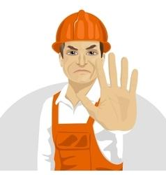 road worker in hard hat showing stop gesture vector image