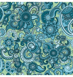 Seamless cucumber pattern in blue color vector image