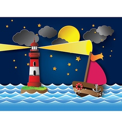 yacht on sea night full moon and lighthouse vector image