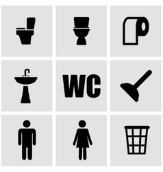 black toilet icon set vector image vector image