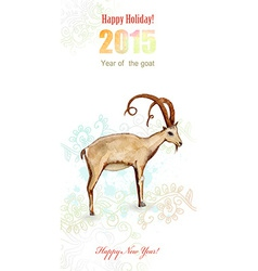 invitation card with watercolor painting of goat vector image