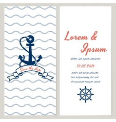 Nautical style wedding invitation vector image