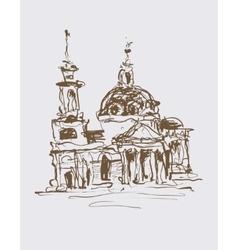 original sketch drawing in sepia color of vector image