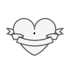 silhouette heart shape with label vector image