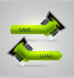 computer arrow loading and saving vector image vector image