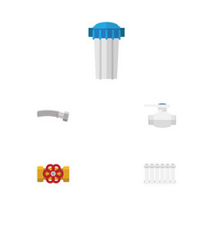 Flat icon sanitary set of water filter radiator vector