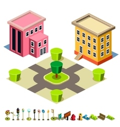 House and Park building icon vector image