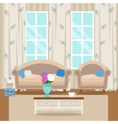 Living room with furniture Cozy interior Flat vector image vector image