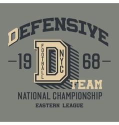 Defensive football team t-shirt vector image