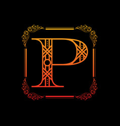 letter p with ornament vector image vector image