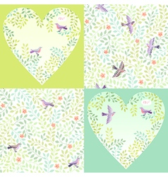 Pattern birds set vector image