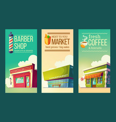 set vertical banners in retro style with vector image