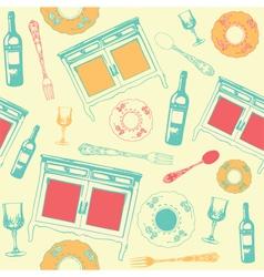 Vintage Dinner Wine Pattern vector image