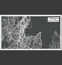 wellington new zealand city map in retro style vector image