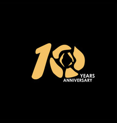 10 year anniversary flower template design vector
