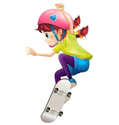 A lady with pink helmet skateboarding vector