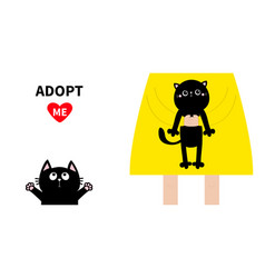Adopt me girl holding black cat kitten cute vector