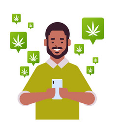 African american man ordering hemp cannabis vector