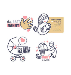 babysitter agency nanny service isolated emblems vector image
