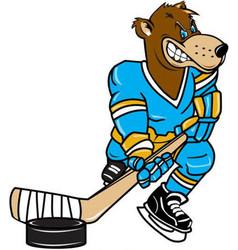 bear hockey sports logo mascot vector image