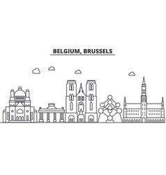 belgium brussels architecture line skyline vector image