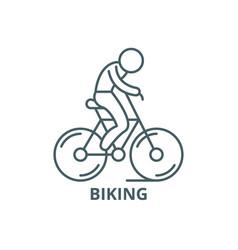 biking line icon biking outline sign vector image